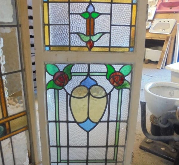 Large Double Rose Stain Glass Window