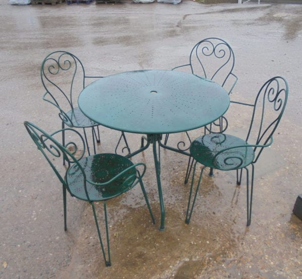 Small Green Reclaimed Garden Table and Chair Set