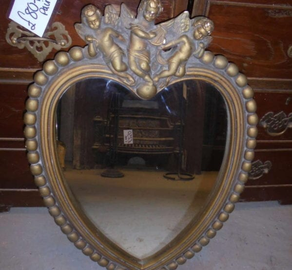Triple Cherub Topped Heart Shaped Mirror