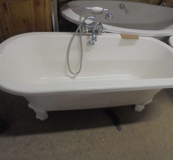 Modern Double Ended Roll Top Bath with Taps