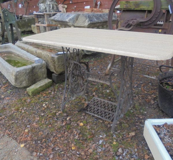 Cast Iron Singer Sewing Table with Reclaimed Marble Top