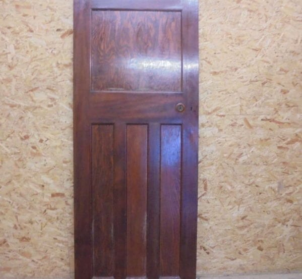 Large Dark Varnish Finish 1 over 3 Panel Door