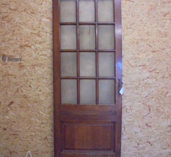 Dark Varnish Glazed 13 Panel Door and Frame