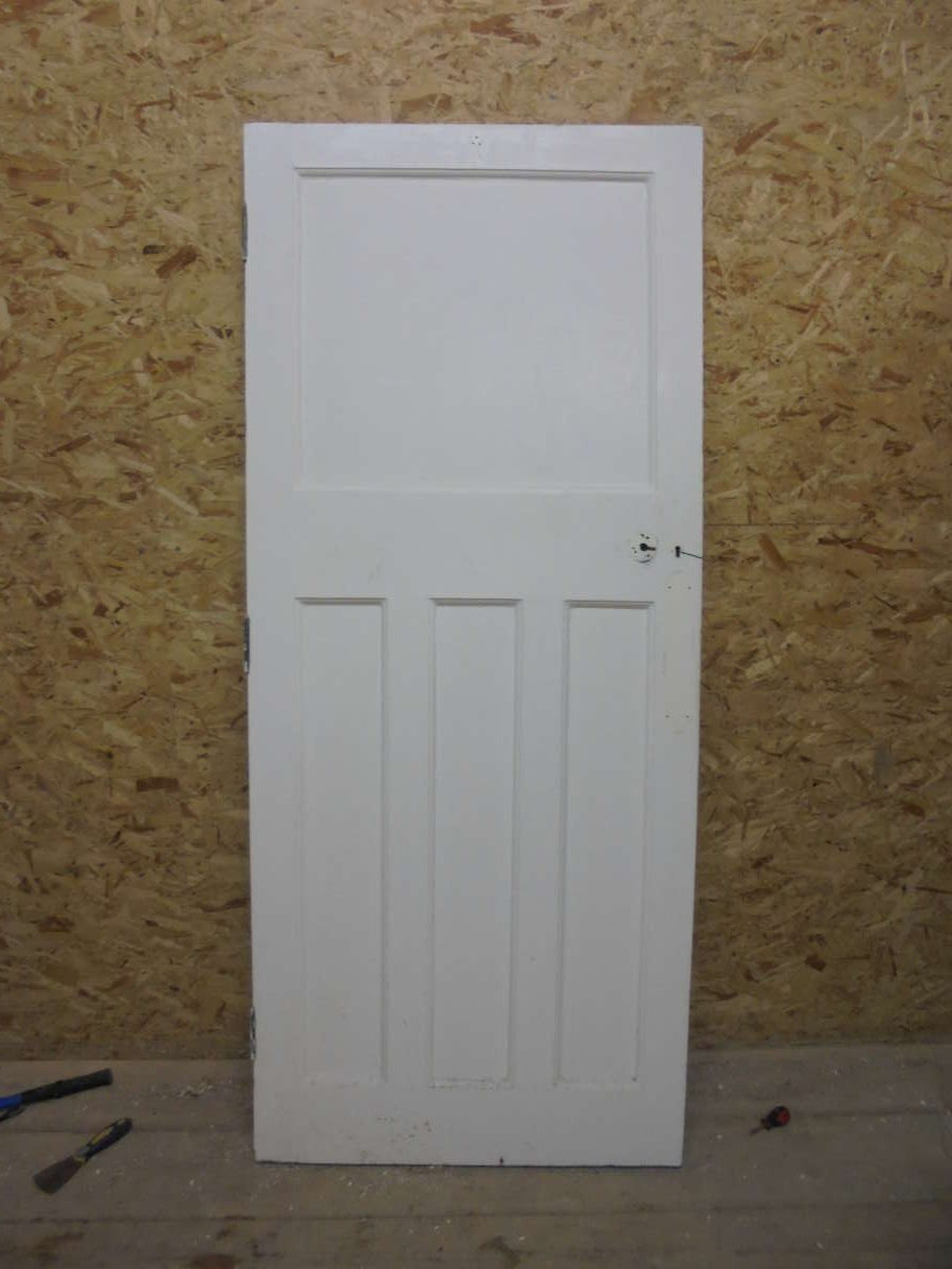 attractive 1 over 3 panel white painted door authentic