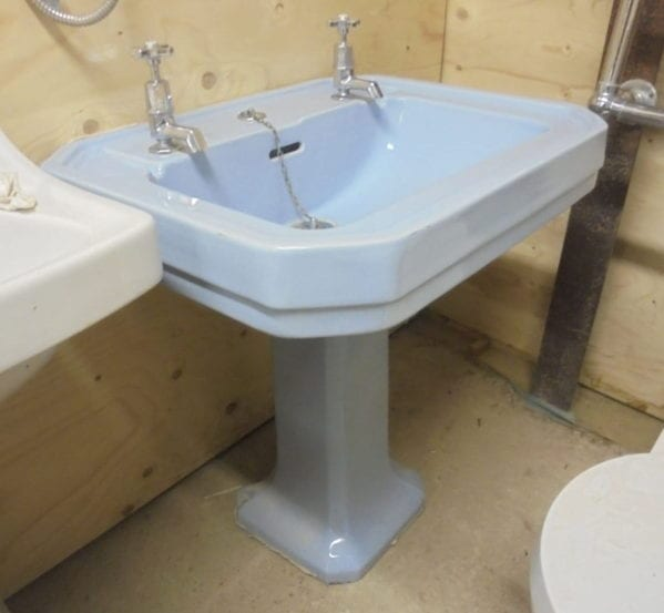 Blue Eight Sided Sink and Pedestal