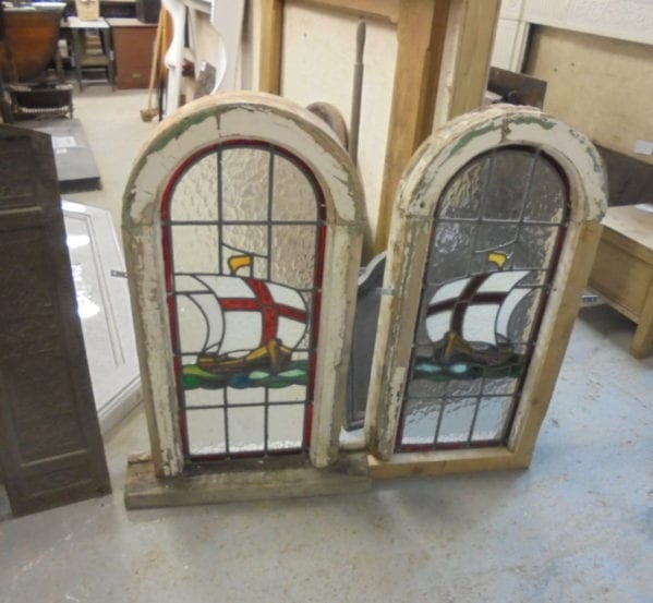 Reclaimed Pair Stained Glass Windows