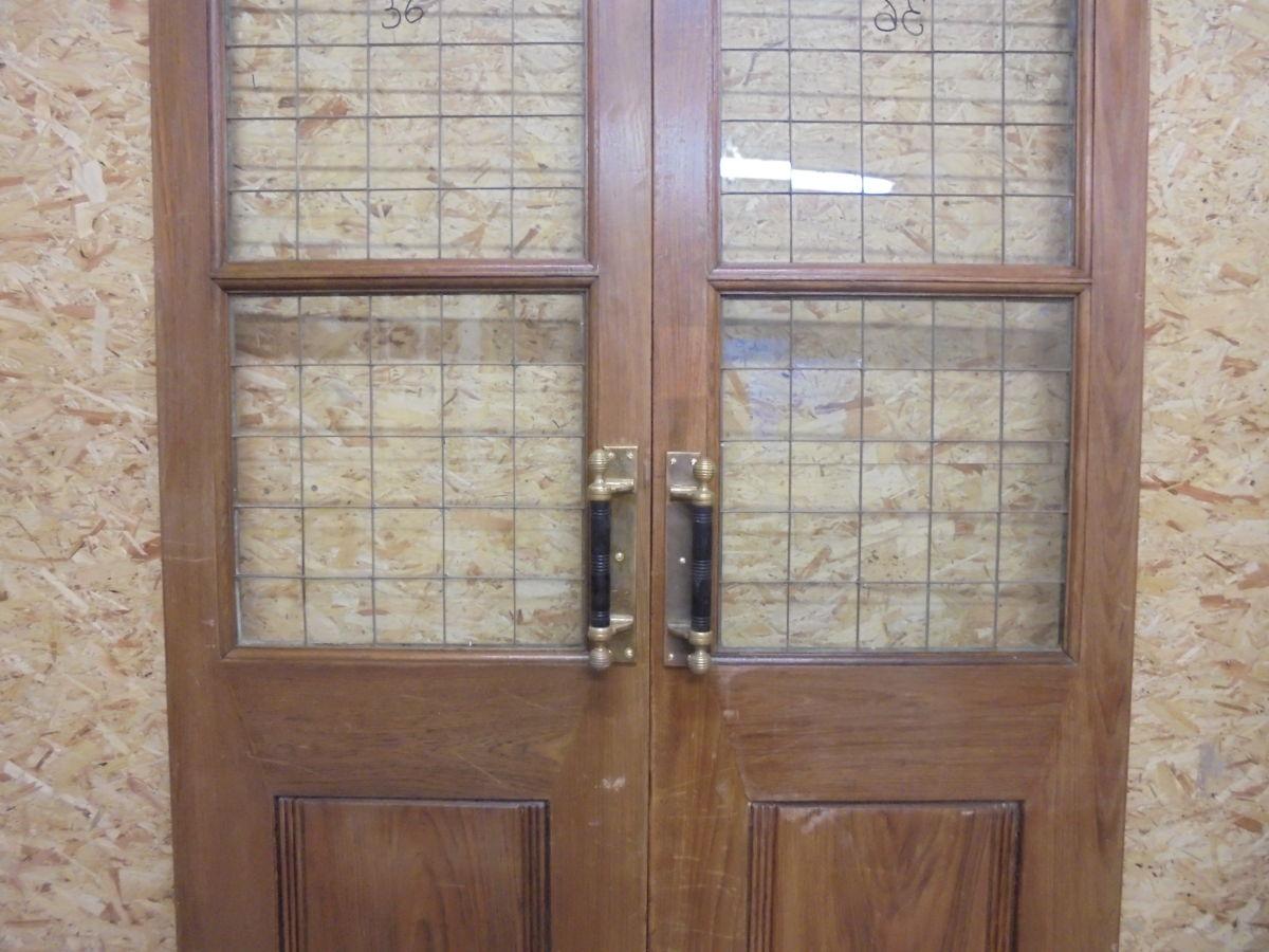 Solid Oak Half Glazed Double Doors Authentic Reclamation