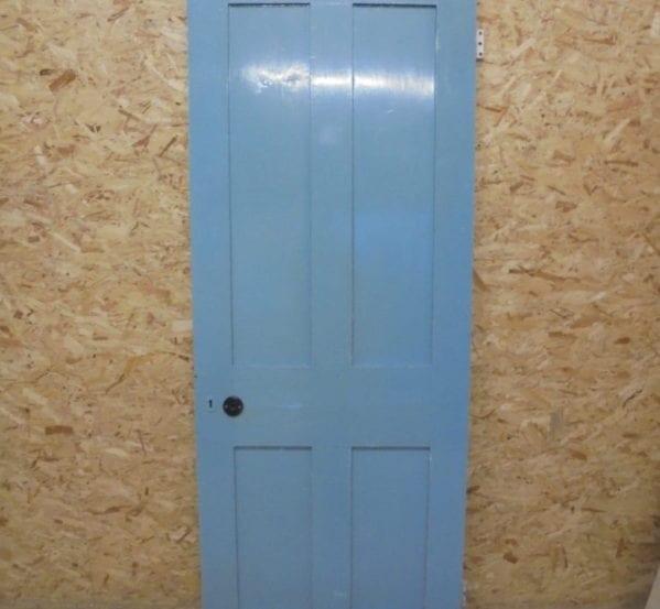 Attractive Blue Painted 4 Panel Door