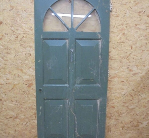 Half Painted Green Partially Glazed Front Door