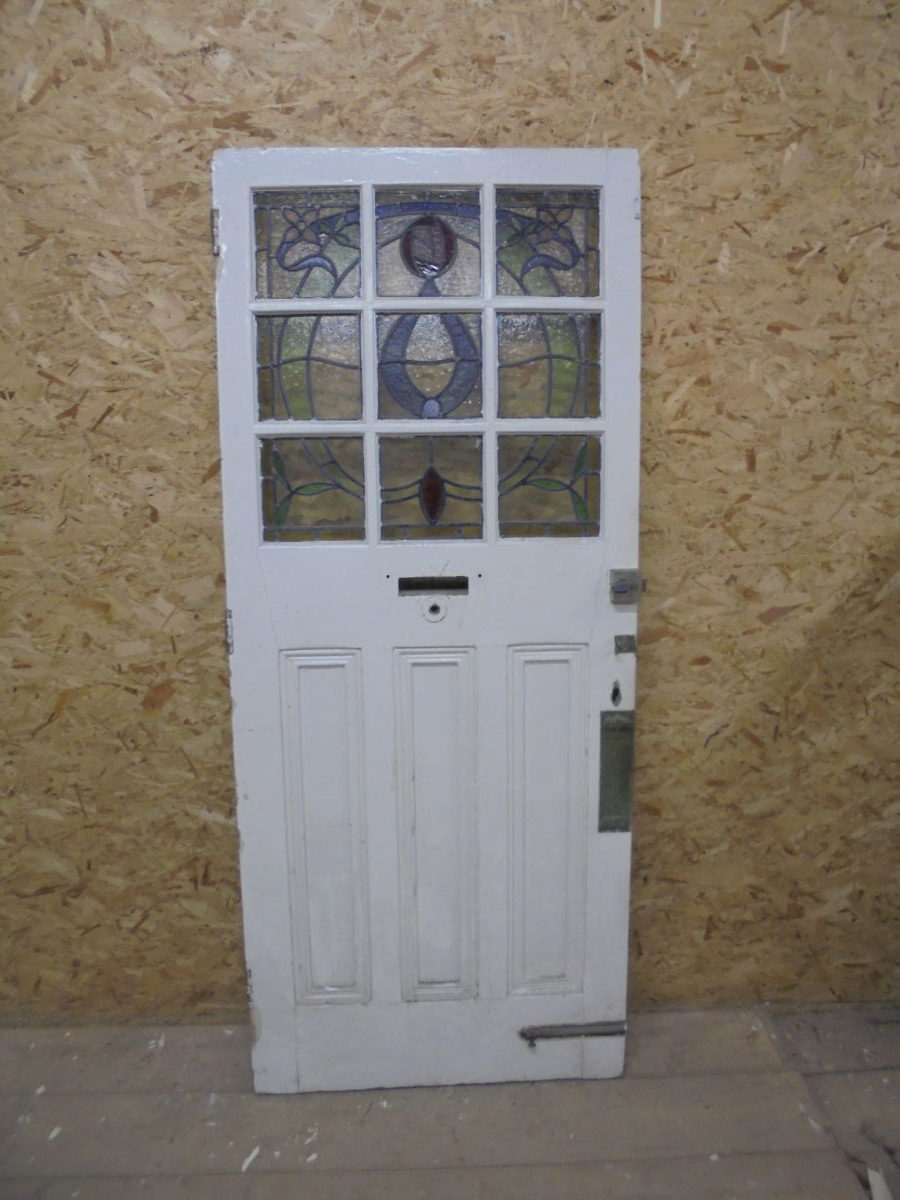 Beautiful Partial Stained Glass Front Door Authentic