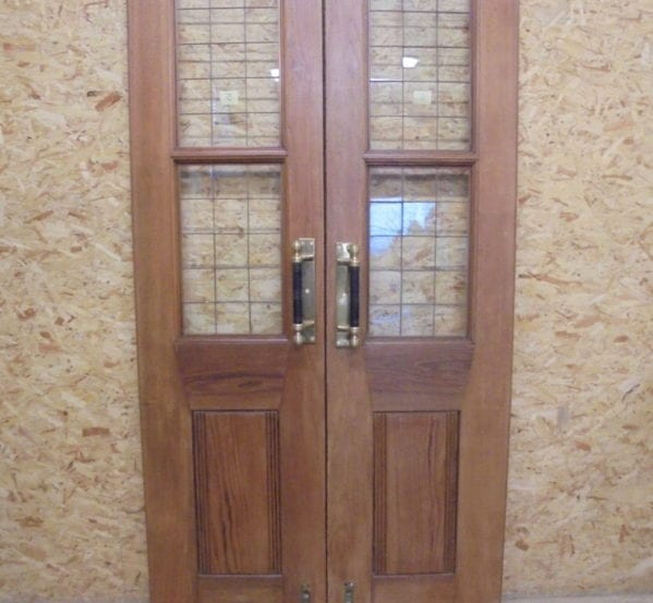 Large Thin Oak Half Glazed Double Doors