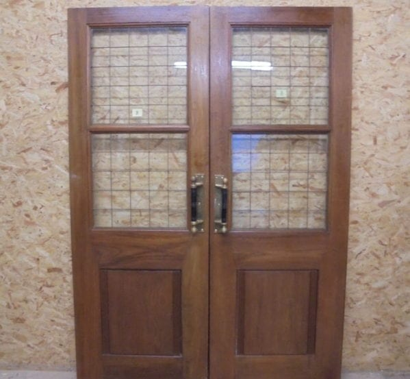 Wide Solid Oak Half Glazed Double Doors