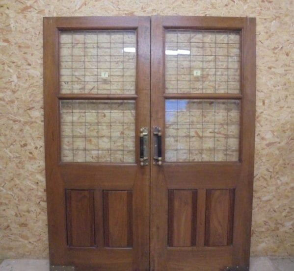 Large Solid Oak Half Glazed Double Doors