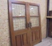 Large Solid Oak Half Glazed Double Doors