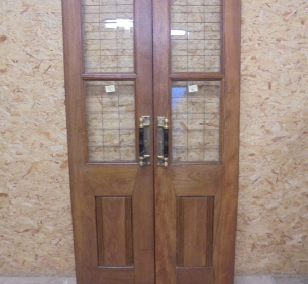 Large Thin Solid Oak Half Glazed Double Doors