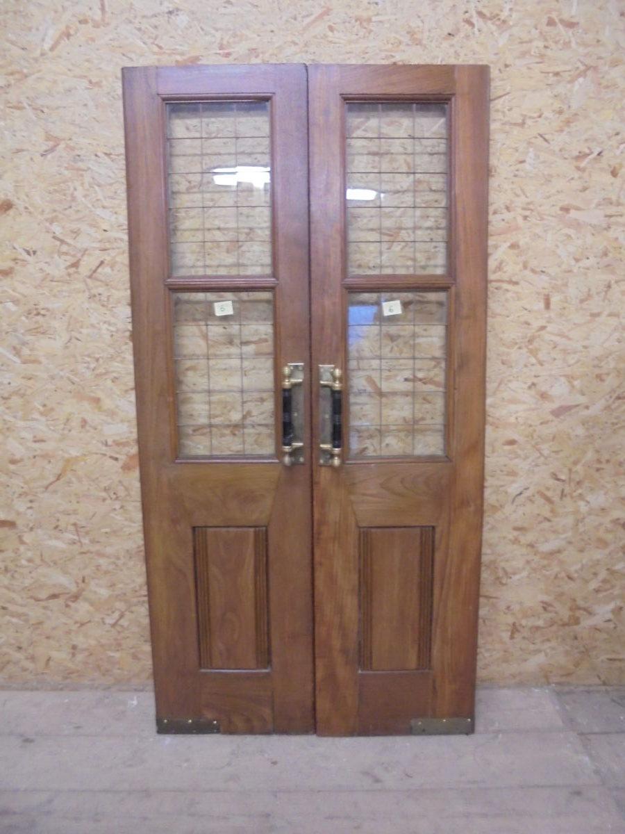 Large Thin Solid Oak Half Glazed Double Doors