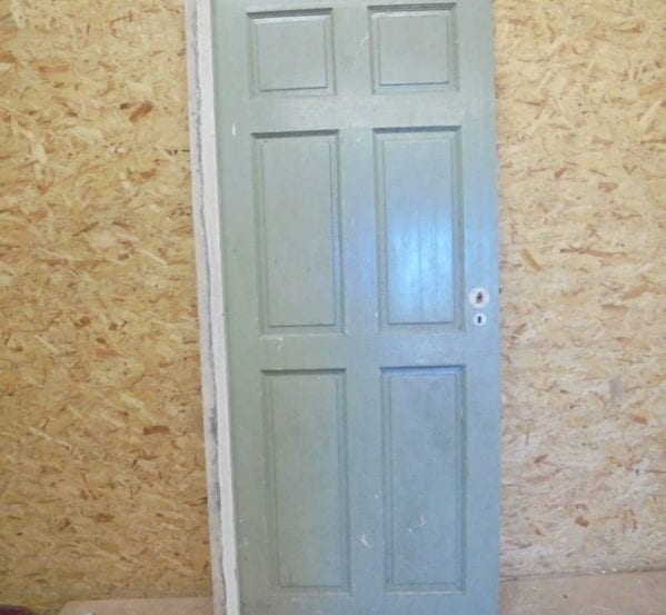 Large Red + Green 6 Panelled Door