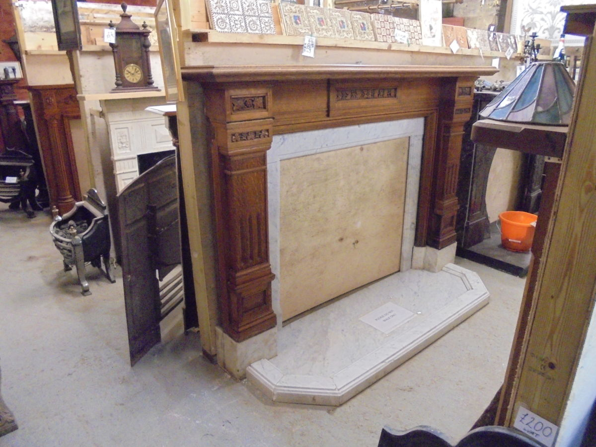 Carved Wood Art Deco Fire Surround