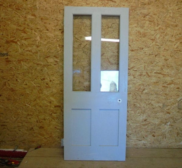 Pigeon-Grey Half Glazed 4 Panelled Door