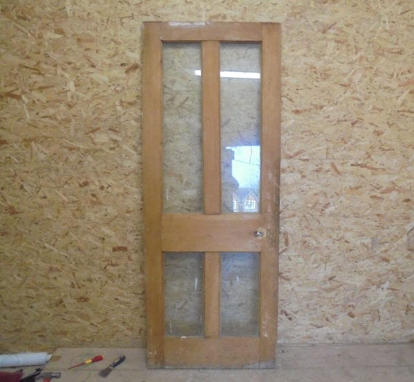 Stripped 4 Panelled Glazed Door