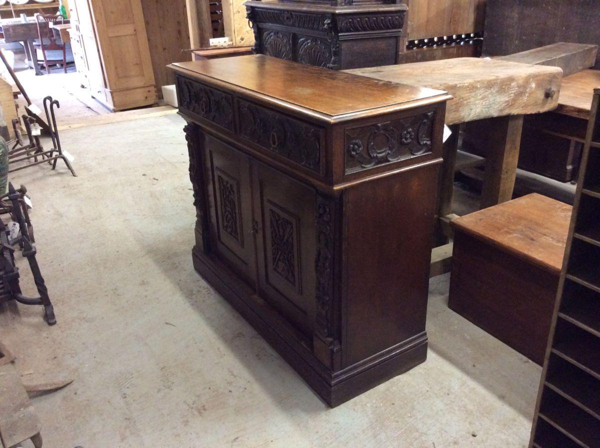 Carved Oak Dresser Base