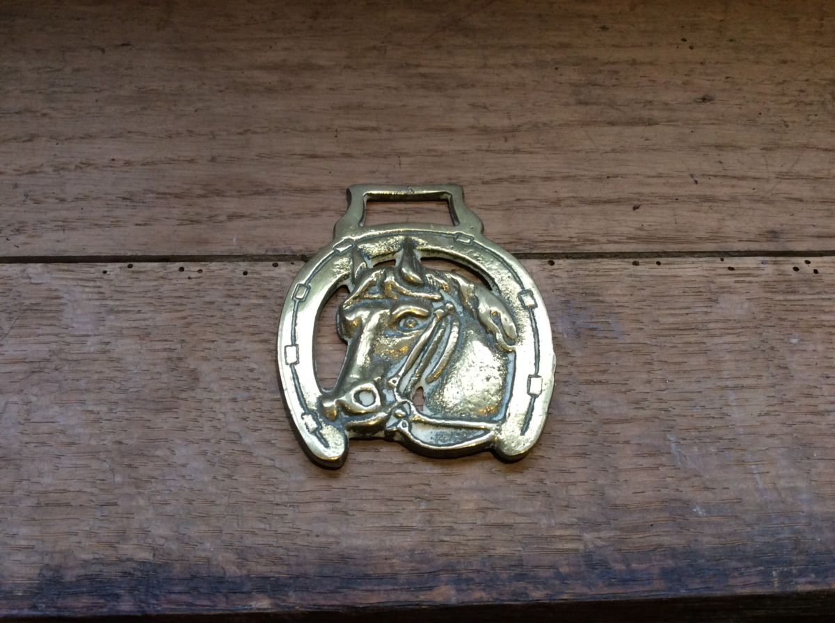 Horse Shoe & Horse Head Brass Harness Buckle