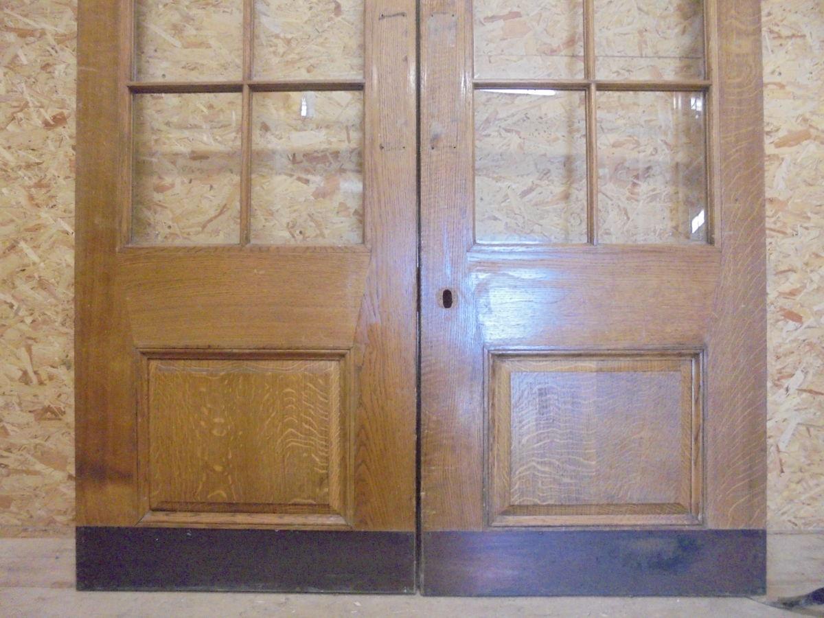 Pair Of Half Glazed Wentworth Oak Double Doors Authentic