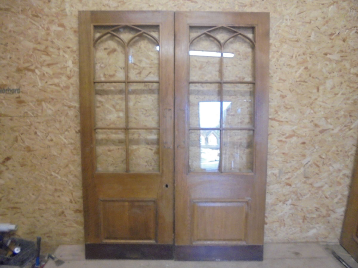 Pair Of Half Glazed Wentworth Oak Double Doors Authentic
