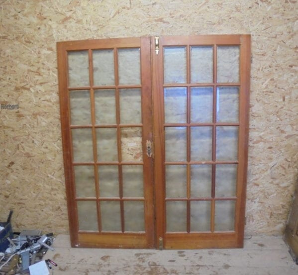 Attractive Varnished Pine 15 Panel Glazed Double Door