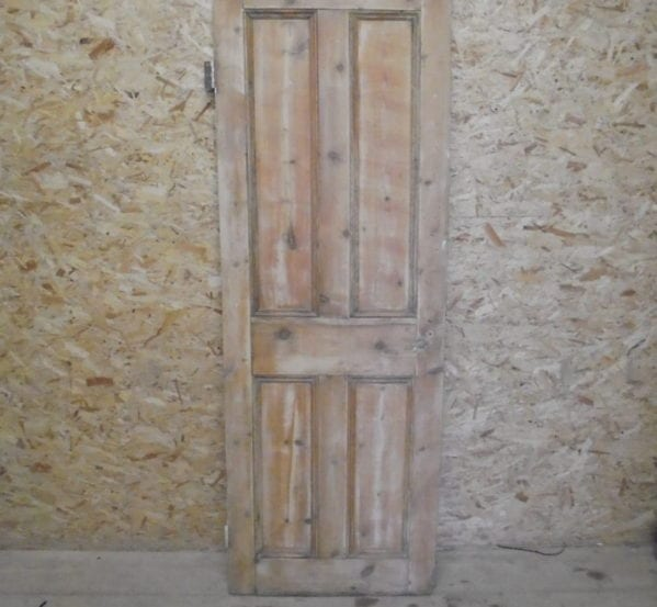 Small Attractive 4 Panelled Stripped Pine Door