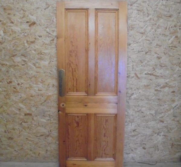 Attractive 4 Panelled Varnished Pine Door
