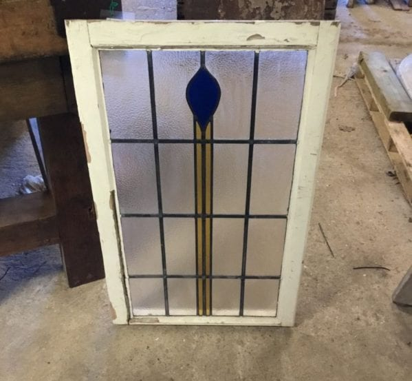 Simplistic Yellow & Blue Stained Glass Window