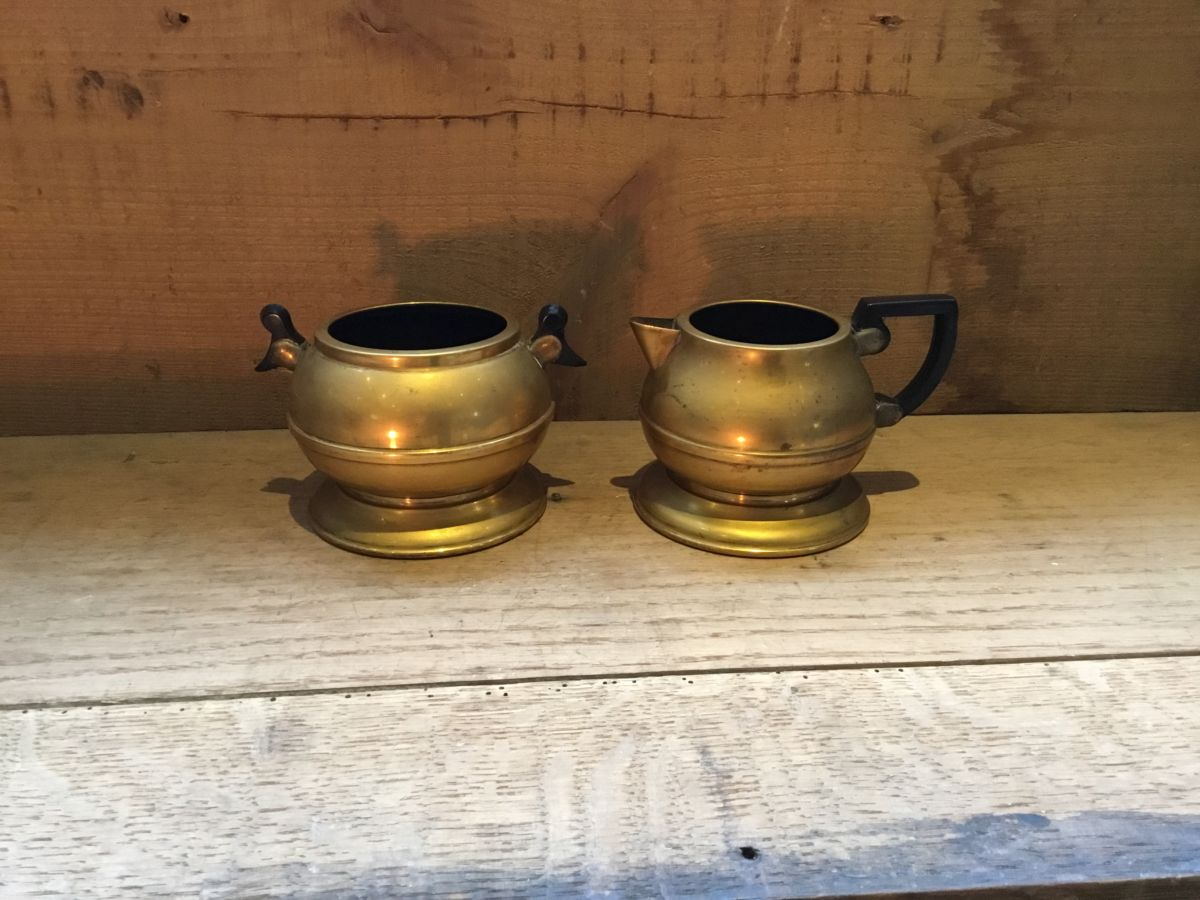 Plated Copper Milk Jug & Sugar Bowl