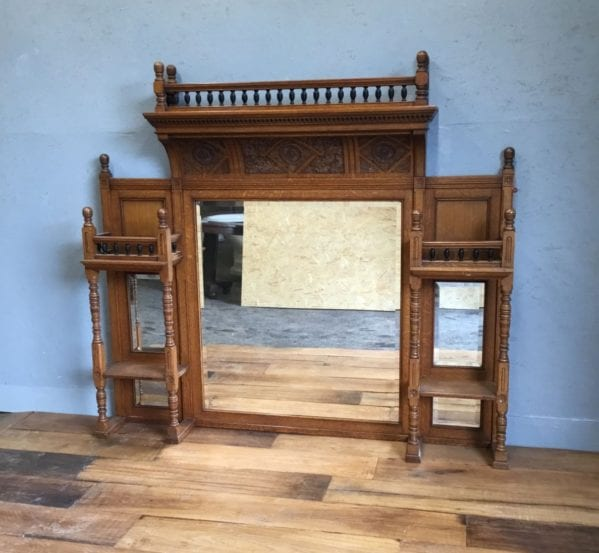 Large Oak Mirror Over Mantle