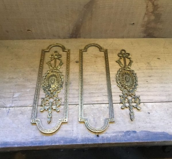 Ornate Two Part Brass Push Plates