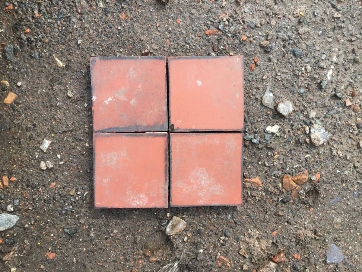 3 by 3 Red Quarry Tiles