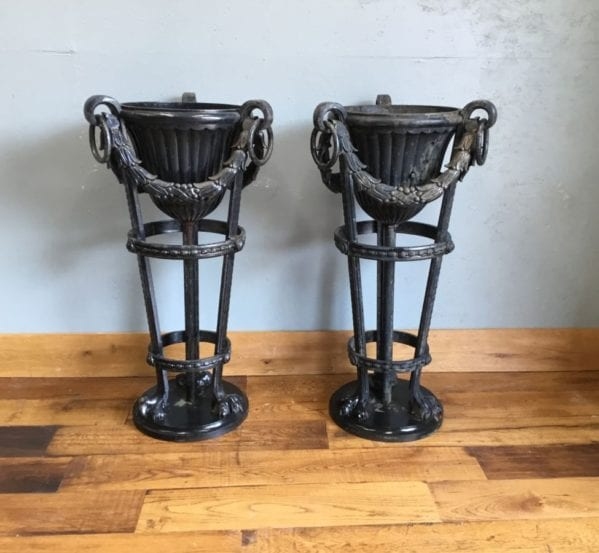 Large Wrought Iron Urn Pair