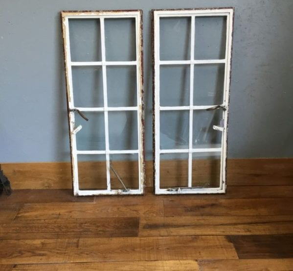 White 8 Pane Window Pair