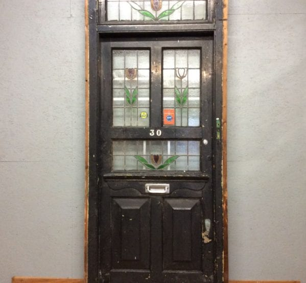 Big Black Stain Glass Front Door