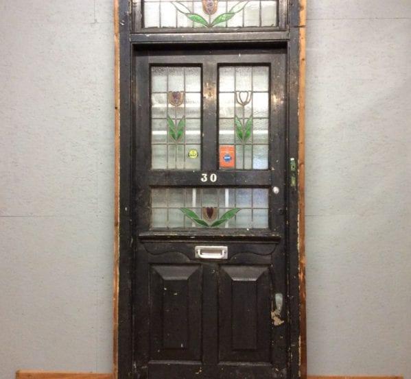 Big Black Stain Glass Front Door