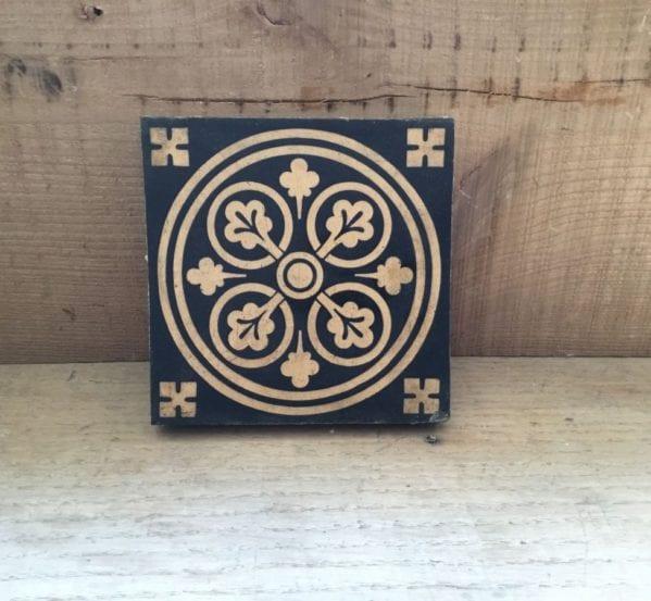 Minton Ornate Black Tile