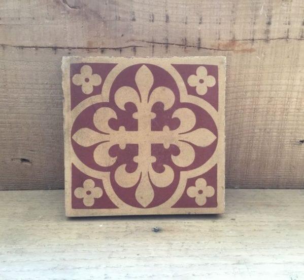 Minton Red Ornate Tile