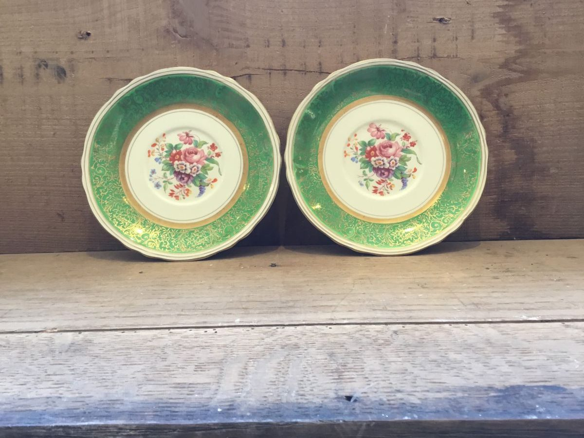 Grindley Creampetal Green Side Plates