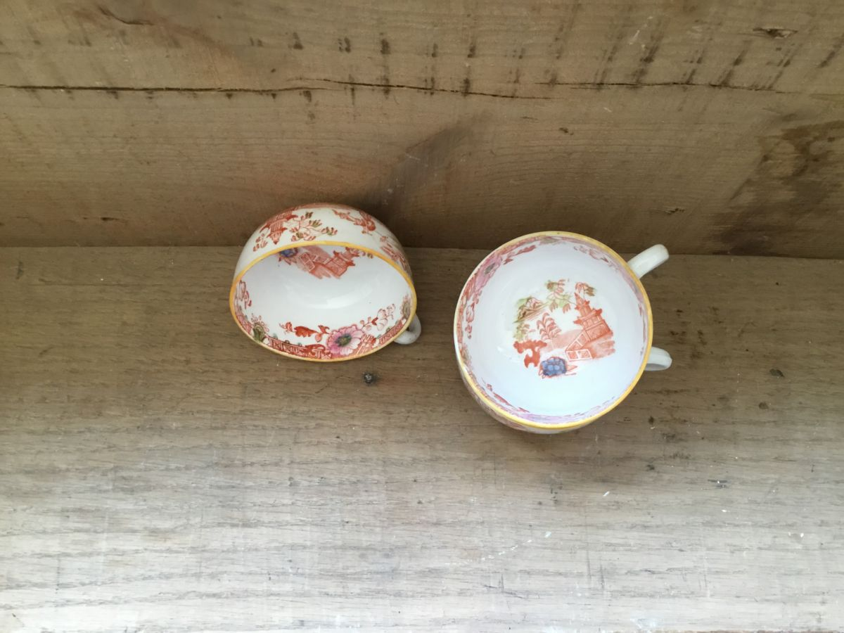 Orange Floral China Cups