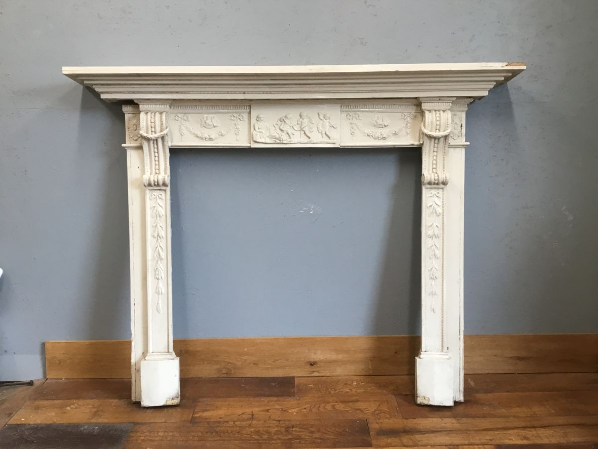 Large White Painted Wooden Surround