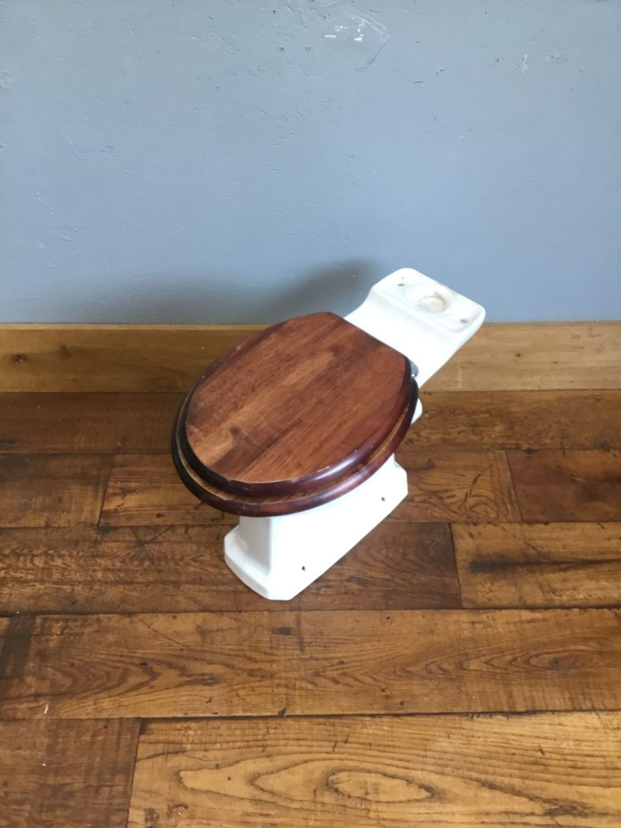 Toilet & Dark Wood Seat