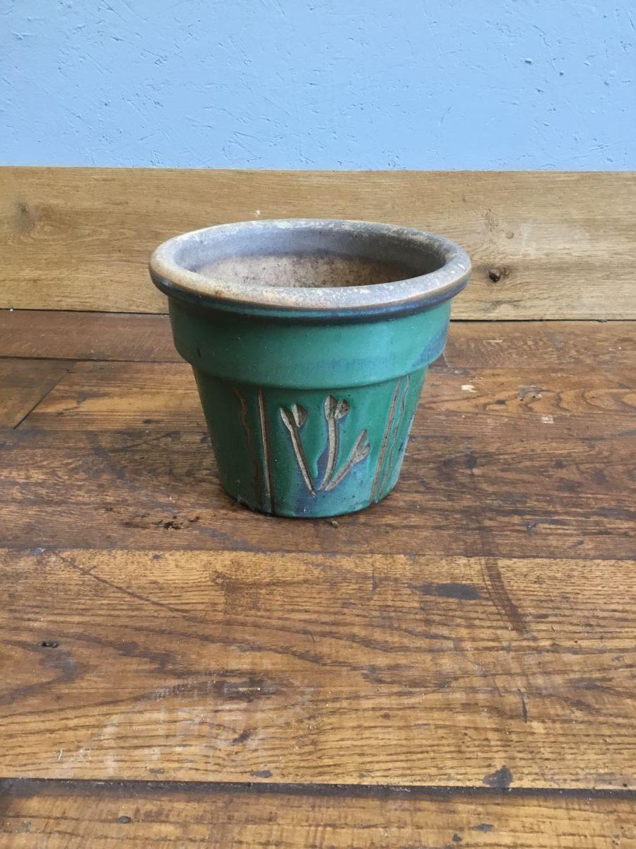 Green Floral Pattern Pot