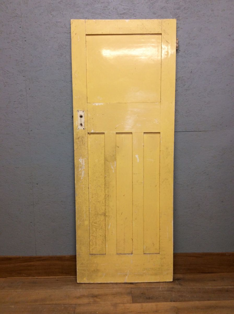 Green And Yellow Painted 1 Over 3 Panel Door