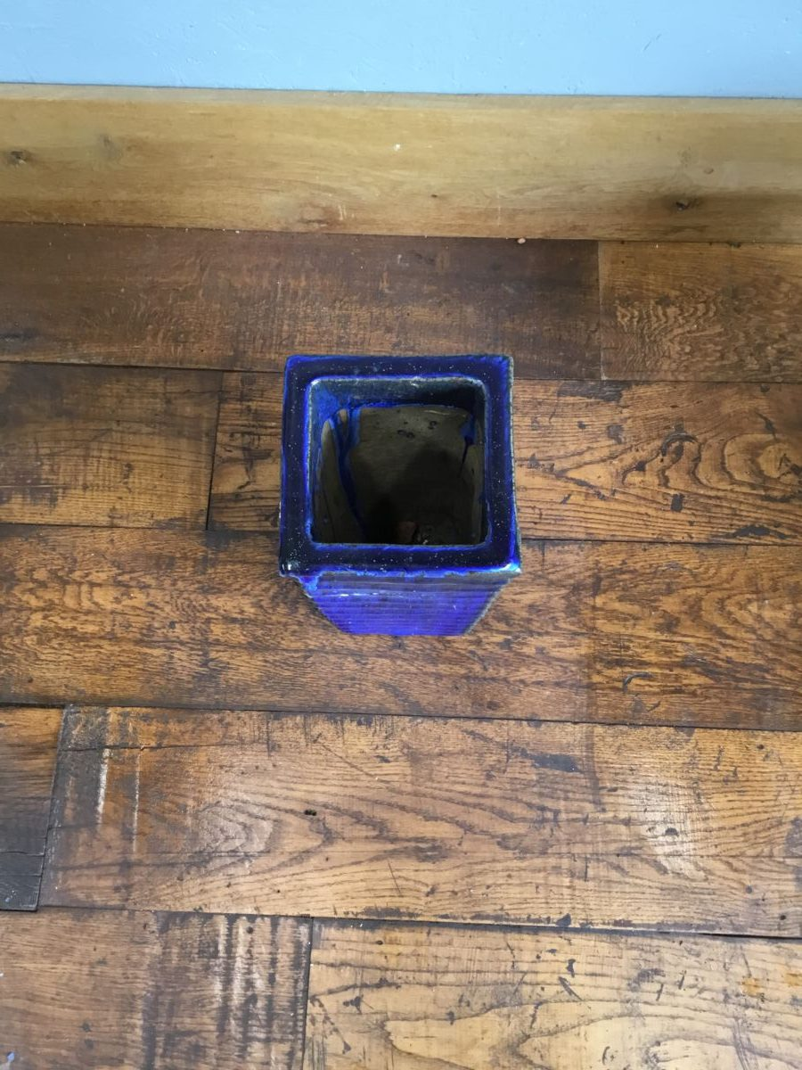 Slim Square Blue Pot