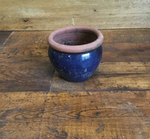 Shallow Blue Pot Brown Rim